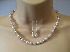 Swarovski Crystal Pearl Set Pink & Grey Necklace & Sterling Silver Earrings