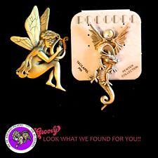 """JJ"" Jonette Jewelry Silver Pewter 'Fairy Nude  Harp Dragon Crystal Ball' Pins 2"