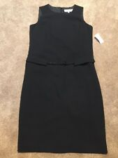 NWT Womens Jones Studio Black Belted Career Sheath Dress Lined Size 12
