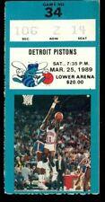 Ticket Basketball Charlotte Hornets 1988 - 1989 3.25 Detroit Pistons
