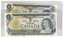Lot of 2 1973 Consecutive Bank of  Canada $1 Dollar Notes BAA