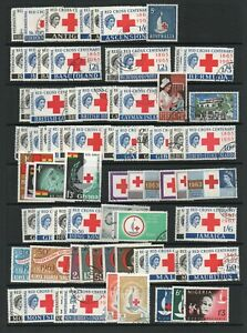 1963 RED CROSS OMNIBUS COMPLETE WITH 108 STAMPS + 2 X MINIATURE SHEETS  USED