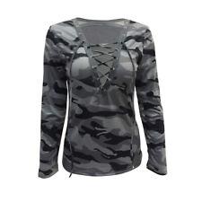 8150d99355 Mujeres Blusa De Camuflaje profundo cuello en V Camiseta Manga Larga  Elastizado Prendas para el torso