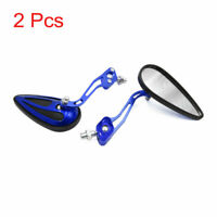 2pcs Universal Blue Motorcycle Motorbike Reversing Rearview Side Mirrors