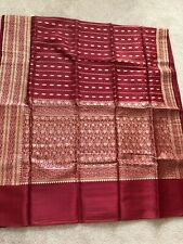 100% Pure Silk Banarasi saree Maroon Red Indian Sari Pure Zari Buti All Over New