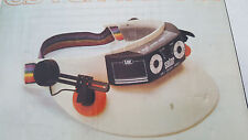 SOLAR cell AM RADIO SUN Visor headband hat handsfree headphones Vintage 1980s