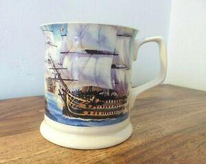 "Past Times Half Pint Tankard/Mug. ""Nautical"" Battleship Galleons Gilded Ceramic"
