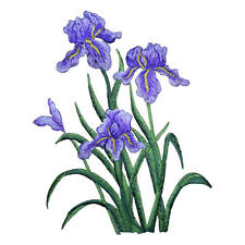 Large Iris Flowers Applique Patch - Purple and Yellow (Iron on)