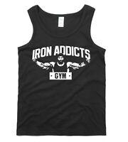 IRON ADDICTS Gym Vest T-shirt Mike Rashid Exercise Fitness Training Mens S - 2XL