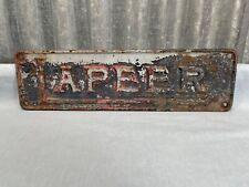 "Cast Iron LAPEER Machinary Equipment Plaque Sign (G2) 13"""