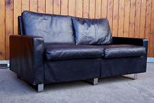 60er Cor Conseta 2er Sofa Chrom & Leder Couch Vintage 70er schwarz 1/3