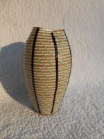 MCM Studio Pottery VASE Modern Design Black & Green Stripes EUC