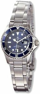 Ladies Charles Hubert Stainless Steel Band Blue Dial Diver Watch