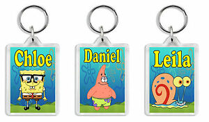 Personalised Spongebob Squarepants Keyring / Bag Tag - Add any name Large Size