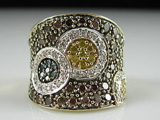 14K Diamond Ring 1.56cttw Yellow Gold Multi Color Wide Band Fine Jewelry Signed