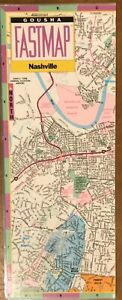 Fastmap of Nashville  - Laminated folded map, street and metro detail Gousha