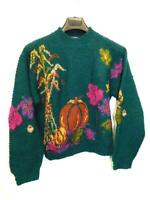 Vintage Woolrich S Dark Green Wool Sweater Autumn Fall Pumpkin Leaves Corn Stalk