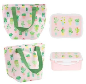 Pink Lunch Bag Cactus Tote Box Food Storage Set Insulated Thermal Cool Floral