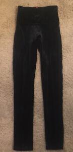 Woman's Spanx Black Velvet Full Length Leggings Size Small EUC
