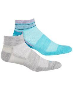 HUE Womens Wool Blend Stripe Welt Quarter Top Socks 2 Pack Opal / Grey $16 - NWT