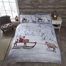CHRISTMAS HUSKY DOG PUPPIES SLEIGH SNOW TREES WHITE KING SIZE 4 PIECE BEDDINGSET