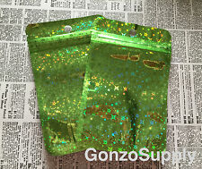 200PC 3x5 Solid Green Holographic Ziplock Mylar Bags-Food Packaging Storage NEW