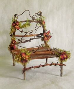 Fairy Garden Miniature Dollhouse TWIG Moss/Rose DOUBLE BED Vermont HandCrafted