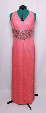 CASSANDRA STONE II CORAL BEADED SEQUIN SILK PROM FORMAL GOWN DRESS 14 14W