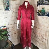 Vintage 50s 60s Bonwit Teller S Silk Floral Asian Brocade Maxi Cheongsam Dress