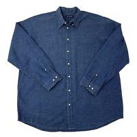 John Ashford Mens Size XXL Tall Blue Long Sleeve Button Front Shirt B-12