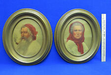Pair Oval Picture Prints Gypsy The Contented Man & Woman Sidney Bell Pipe