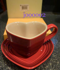 LE CREUSET STONEWARE red HEART Shaped Coffee Mug w/ Saucer Gift Boxed *fast ship