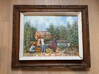 Fritz Louizor Haiti Haitian Oil painting Folk Art Mid Century, impressionist