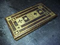 Coffret en bos VIDE rangement 3 jeux de 32 cartes - monogrammé JB
