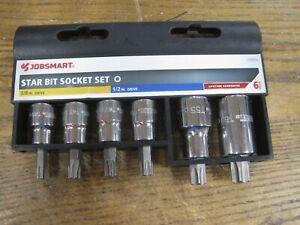 """Star Bit Socket Set 3/8 & 1/2"""" Drive T40-T60 Jobsmart 6 Piece Brand New"""