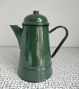 60s 70s Vintage Retro Green Enamel Tin Coffee Pot Made In Poland Habitat MCM