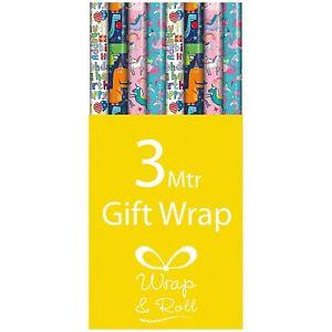 6m (2 x 3m) Kids Roll Gift Wrap Unicorn Dinosaur Flamingo Birthday Party Child