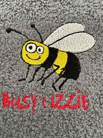 Pack of 3 'Busy Lizzie' Bee Kitchen Hand Tea Towel Grey 100% Cotton 50cm x 65cm
