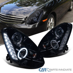 Glossy Black For 05-06 Infiniti G35 4Dr Smoke SMD LED DRL Projector Headlights