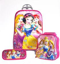 "16"" Princess Girls 6D Travel Rolling Trolley Bag Suitcase Luggage School Bag Set"