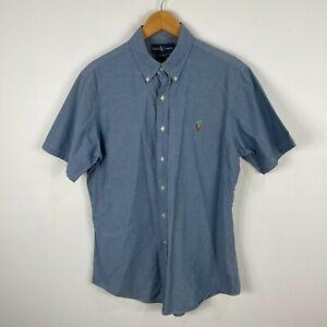 Ralph Lauren Mens Button Up Shirt Medium Blue Chambray Short Sleeve Collared