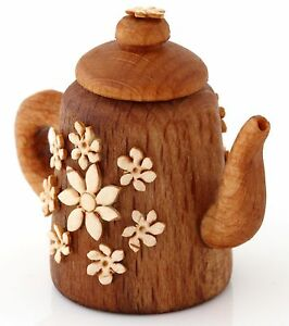 """Teapot Kettle Wooden Birch Bark Thimble Handmade Collectible Limited Edition 1"""""""