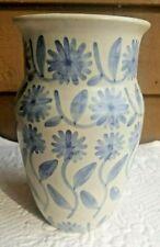 SIGNED POTTERY VASE SONNY FLETCHER VINTAGE 1979 BLUE FLOWERS LEXINGTON VA