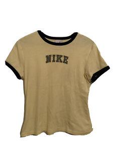 NIKE ATHLETIC Girls youth Size L large T-shirt top Yellow Nike logo