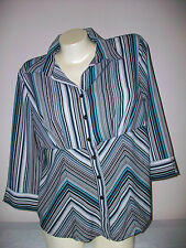 Womens Size Large STUDIO 1940 Striped Blouse 3/4 Sleeves Top