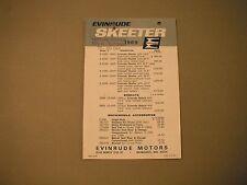 1969 Vintage Evinrude Skeeter & Bobcat Snowmobile Dealer Price List