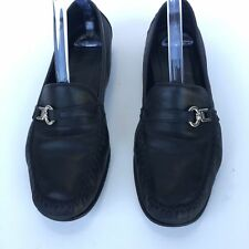 COACH Women Slip On Mocassin Loafers Shoes Black Leather Size 10B Made In Italy