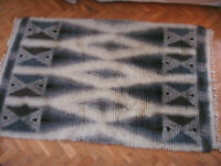 Vintage Mid Century Modern rya rug wool hand woven carpet 1960s Danish Eames