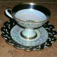 Royal Crown 2852 Irridescent Black And Gold Footed Tea Cup and Saucer