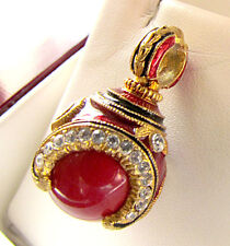 SALE ! LOVELY GENUINE CORAL STERLING SILVER 925 AND 24K RUSSIAN  EGG PENDANT
